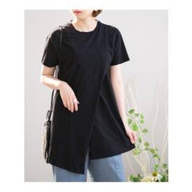 オーガニックコットンアシンメトリーTシャツ (ブラック)