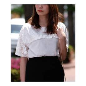 2WAYフリルレース切替半袖Tシャツ (ホワイト)