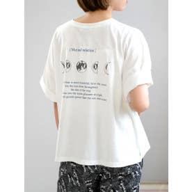 ムーンロゴプリントTシャツ (ホワイト)