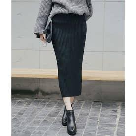 【飯窪春菜さん着用】ハイウエストリブニットひざ丈スリットスカート (ブラック)