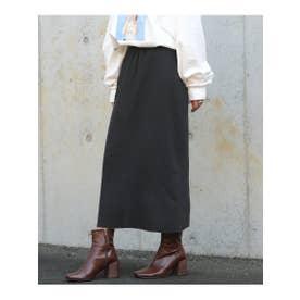 ベーシックリブニットロングスカート (ブラック)