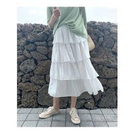 4段フリルティアードスカート (ホワイト)