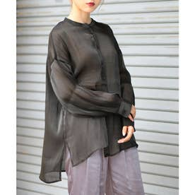 シャイニーポプリンビッグシャツ (ブラック)