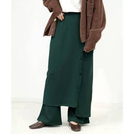 2枚セットジャガードフレアパンツ&スカート (グリーン)
