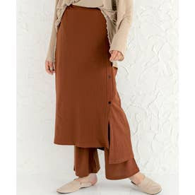 2枚セットジャガードフレアパンツ&スカート (テラコッタ)