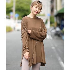 メロウシアーオーバーサイズロングTシャツ (ブラウン)