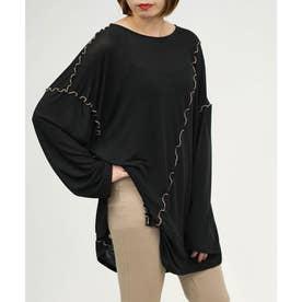 メロウシアーオーバーサイズロングTシャツ (ブラック)