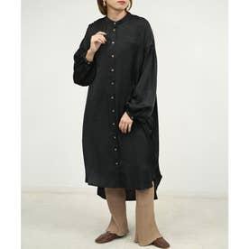 ボリュームスリーブバンドカラーシャツワンピース (ブラック)
