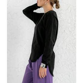 イレギュラーヘムスリットTシャツ (ブラック)