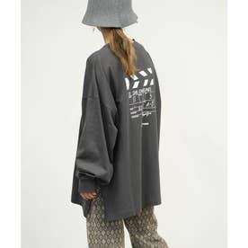 クラッパーボードプリントロゴ刺繍ビッグTシャツ (チャコールグレー)