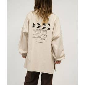クラッパーボードプリントロゴ刺繍ビッグTシャツ (ベージュ)