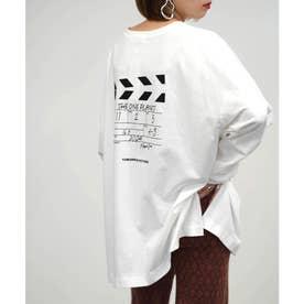 クラッパーボードプリントロゴ刺繍ビッグTシャツ (ホワイト)