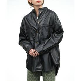 エコレザースタンドカラーシャツジャケット (ブラック)