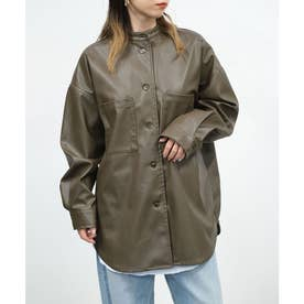 エコレザースタンドカラーシャツジャケット (カーキ)