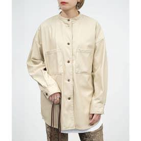 エコレザースタンドカラーシャツジャケット (ライトベージュ)