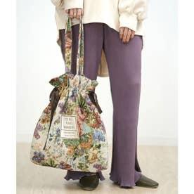 2WAYゴブラン織ロゴ巾着トートバッグ (ベージュ)