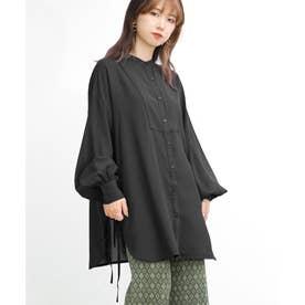サイドリボンバンドカラーシャツ (ブラック)