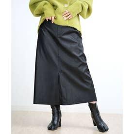 センタースリットエコレザースカート (ブラック)