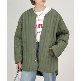 高密度タフタ縦キルティングジャケット (カーキ)