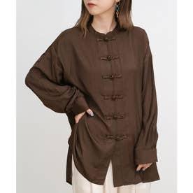 ツイルチャイナビッグシャツ (ブラウン)