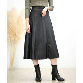エコレザーフレアスカート (ブラック)