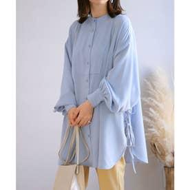 サイドリボンバンドカラーシャツ (ライトブルー)