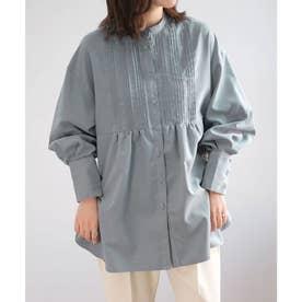 ピーチスキンスタンドカラーピンタックシャツ (ブルー)