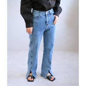 スーパーストレッチ裾スリットデニムパンツ (ブルー)