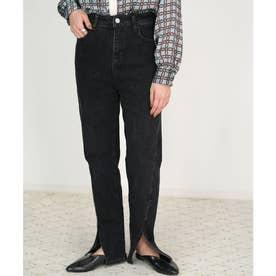 スーパーストレッチ裾スリットデニムパンツ (ブラック)