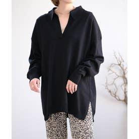 オーバーサイズスキッパーニットポロシャツ (ブラック)