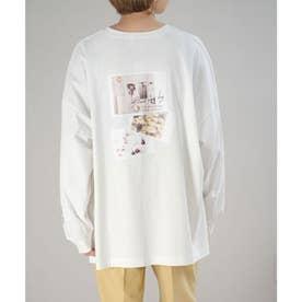 バックフォトプリントオーバーサイズTシャツ (ホワイト)