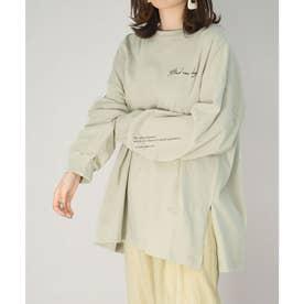 バックフォトプリントオーバーサイズTシャツ (グリーン)