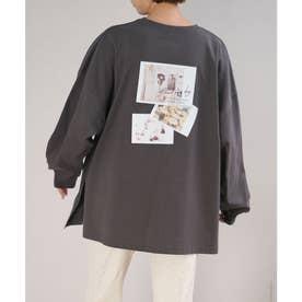 バックフォトプリントオーバーサイズTシャツ (チャコール)