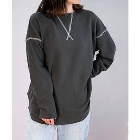 2WAYワッフル配色ステッチデザインTシャツ (チャコール)