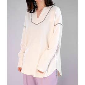 2WAYワッフル配色ステッチデザインTシャツ (アイボリー)