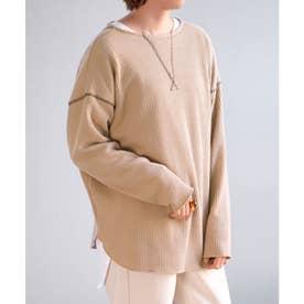2WAYワッフル配色ステッチデザインTシャツ (ベージュ)