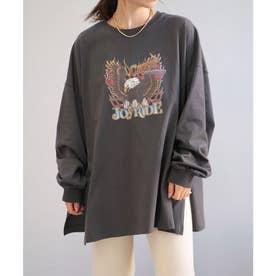 イーグルプリントオーバーサイズTシャツ (チャコール)