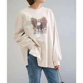 イーグルプリントオーバーサイズTシャツ (グレージュ)
