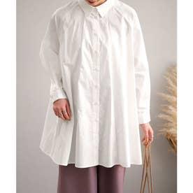 ラグランスリーブフレアチュニックシャツ (オフホワイト)
