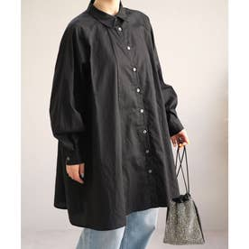 ラグランスリーブフレアチュニックシャツ (ブラック)
