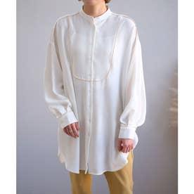トロピカル素材パイピングブザムシャツ (ホワイト)