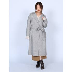 Belted Coat (GRAY×WHITE)