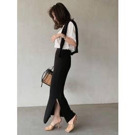 リブニットタイトスカート (BLACK)