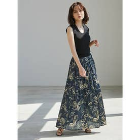 リーフパターンギャザースカート (NAVY)