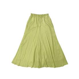 ウエストイージー割繊フレアスカート (LIME GREEN)