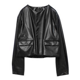 ショートエコレザージャケット (BLACK)