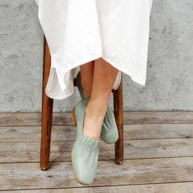 ゴムで足が痛くならないギャザーフラットシューズ (ライトグリーン)