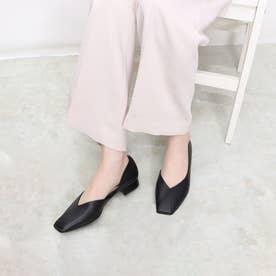 女性らしいきれいなライン・スクエアフラットシューズ (ブラック)