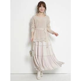 裾刺繍ニットセットアップ (ベージュ)