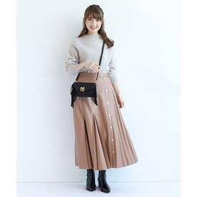 レザープリーツアシメスカート (薄キャメル)